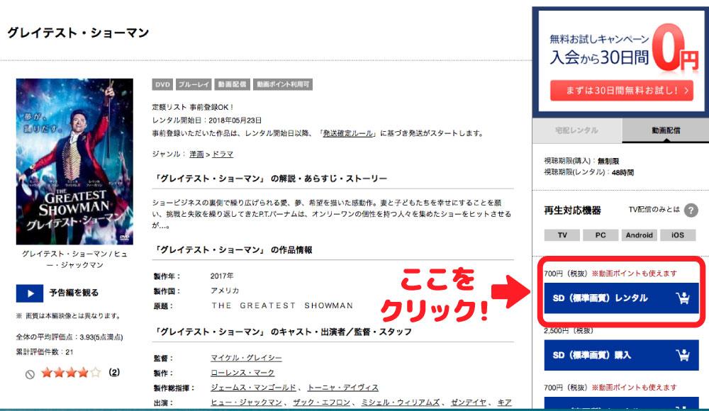 TSUTAYAディスカスのページから動画配信で「グレイテストショーマン」を見るためには「SDレンタル」を選択して申し込むことで視聴出来るようになる。
